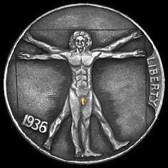 JAMES OLIVENCIA HOBO NICKEL - GOLD MEMBER - 1936 BUFFALO NICKEL Hobo Nickel, Coin Art, Old Coins, Goods And Services, Sculpture Art, Carving, Bling, Train, Cool Stuff