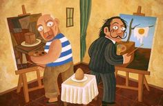 Picasso and Dali painting an egg ,Cubism and Surrealism !!