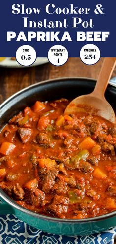 Low Syn Paprika Beef - tender chunks of beef in a rich smokey paprika tomato sauce with chunks of butternut squash - made it the other night and wow! Beef Chunks Recipes, Meat Recipes, Crockpot Recipes, Dinner Recipes, Cooking Recipes, Healthy Recipes, Recipies, Best Beef Recipes, Healthy Options