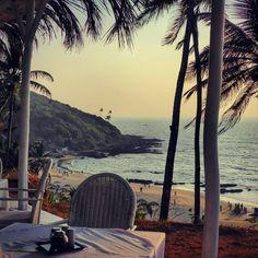 Views from Thalassa Restaurant in Vagator at sunset