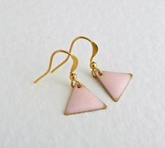 Pink Triangle Earrings .. small earrings by beadishdelight on Etsy