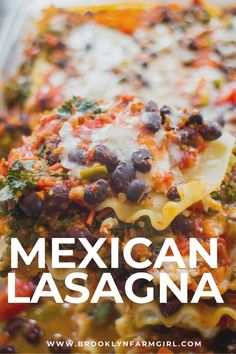 Mexican Lasagna is a smoky and zesty take on the classic! Made with black beans, veggies, cheese, taco seasoning, and tomato sauce, it's a hearty and satisfying vegetarian dinner that's easy to make ahead of time or freeze for later. Vegetarian Lasagna Recipe, Vegetarian Mexican, Mexican Food Recipes, Sweets Recipes, Quick Weeknight Meals, Easy Meals, Lasagna Ingredients, Lasagna Casserole, Mexican Lasagna