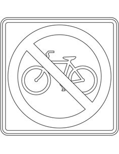 """""""No Bicycles"""" Sign in the USA coloring page from USA Road Signs category. Select from 31983 printable crafts of cartoons, nature, animals, Bible and many more. Sports Coloring Pages, Colouring Pages, Coloring Books, Printable Crafts, Printables, Construction Birthday Parties, All Schools, Free Printable Coloring Pages, Kids Education"""