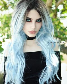 Glacier Blue Ombre Wavy Wefted Cap Synthetic Wig - Synthetic Lace Front Wigs - EvaHair