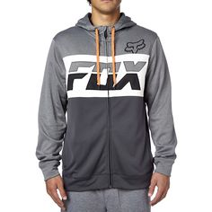 This awesome hoodie is made of moisture wicking fabric. Inspired by MX, this color blocked zip front hoodie has Fox applique and Fox Head screenprint on front, reflective drawcord and Mesh under arm p