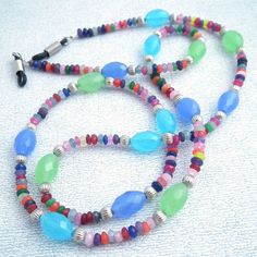 63c5d2ad222 Blue Green Multicolored Beaded Eyeglass Chain