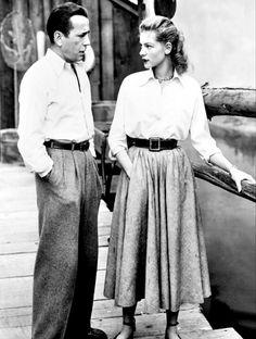 Humphrey Bogart and Lauren Bacall during filming of Key Largo, 1948