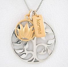 "Tree of Life, Lotus Flower & Karma Charm Necklace in Sterling Silver and Gold Vermeil on a 20"" Rhodium and Sterling Box Chain, #8460"