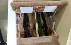 Hidden Storage For Guns Secret Compartment Safe Room 36 Ideas Hidden Gun Safe, Hidden Gun Storage, Weapon Storage, Secret Storage, Stair Storage, Hidden Weapons, Ammo Storage, Extra Storage, Gun Safe Diy