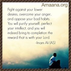 """""""Fight against your lower desires, overcome your anger, and oppose your bad habits. You will purify yourself, perfect your intellect, and you will indeed bring to completion the reward that is with your Lord."""" - Imam Ali (as) Islamic Quotes, Islamic Teachings, Muslim Quotes, Religious Quotes, Imam Ali Quotes, Quran Quotes, Hazrat Ali, Allah Islam, Islam Muslim"""