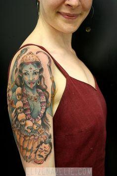 Hindu Goddess Kali Tattoo On Shoulder For Girls