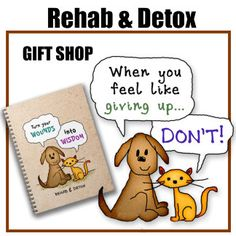 Recovery Sobriety Freedom: Rehab & Detox, an adorable cartoon dog and cat share powerful quotes about the journey from addiction to recovery. They inspire & encourage a drug-free life and spread simple wisdom.  Rehab & Detox cartoon stick figures were drawn in 2011 by artist, Paula Bragg.  They appear on T-shirts, cards, posters, hoodies, caps, mugs, home décor, drinkware, tote bags, office products, computer accessories and other gift items.