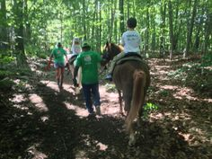 Birthday party in the woods!  Great trails were available for a family in NY.  Their back yard was against preserved land owned by a school.  It was such an awesome experience for the kids because it felt like a trail ride. One of the best places we were able to give pony rides.