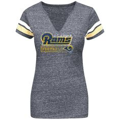 Classic St. Louis Rams Women s D.L. III V-Neck Tri-Blend T-Shirt - Navy Blue e06b75c59