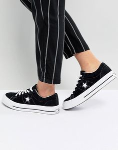 e02511bc2416 Converse One Star Ox Sneakers In Black Suede Converse