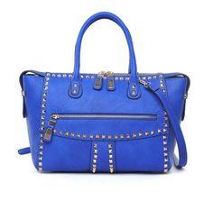 Urban Expressions Demi Handbags Studded Cobalt Blue Vegan Leather Bags @ BagMadness.com #UE #Bagmadness #UEDemi