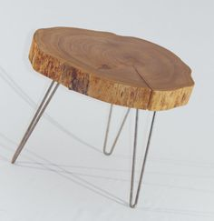 Natural Live Edge Round Slab Side Table / Coffee Table with Hairpin Legs #1