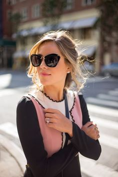NYFW Recap, part 2, Red Valentino dress and Miu Miu sunglasses