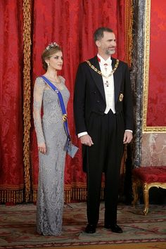Spanish King Felipe VI and Queen Letizia attend the Gala dinner at the Royal Palace on 02.03.2015 in Madrid, Spain.