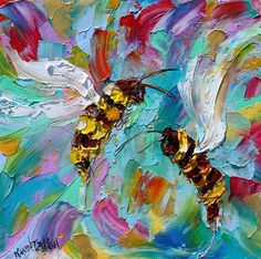 Bee Happy painting Original oil abstract palette knife