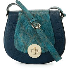Neiman Marcus Snake-Embossed Faux-Leather Saddle Bag ($100) ❤ liked on Polyvore featuring bags, handbags, shoulder bags, purses, navy, navy blue handbags, blue shoulder handbags, vegan handbags, navy shoulder bag and navy blue shoulder bag