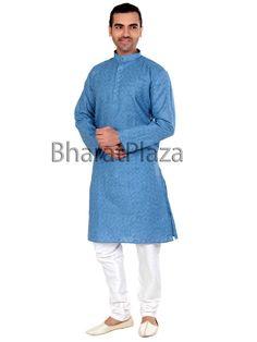 Pleasing sky blue color linen #Kurta with mandarin collar and contrast buttons. Item Code : SKPD1002 http://www.bharatplaza.com/new-arrivals/kurta-pyjamas.html