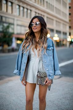 JUNE 28TH, 2016 BY MARIA Fave: Striped Romper - Nordstrom Striped Romper // Topshop Oversized Denim Jacket // Marc Fisher Wedges // Quay Mirrored Sunglasses // Gucci 'Dionysus' Bag