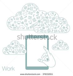 Demonstration screen tablet for presentation application. Icons set in flat style on white background. Vector illustration of cloud technology and services. Hand with media and networking in devices.