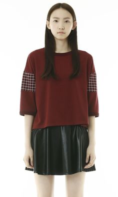 Burgundy top with checked sleeves