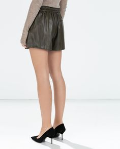 Image 3 of FAUX LEATHER SHORTS from Zara