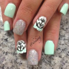 Seafoam and Grey Chevron Nails With Silver Shimmer and Anchor ⚓