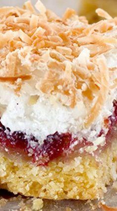 Louise Cake Slice - A New Zealand favourite combining shortcake crust, raspberry jam and coconut meringue