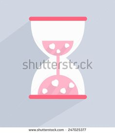 vector illustration Heart in hourglass, background, wallpaper - stock vector
