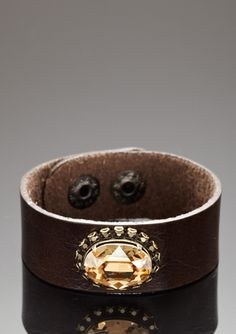 LIZ PALACIOS Leather Crystal Cuff