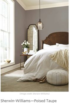 master bedroom paint colors Poised taupe paint color for bedroom walls - beautiful with classic furniture Sherwin Williams Poised Taupe, Taupe Paint Colors, Taupe Color, Neutral Paint, Grey Paint, Color Mix, Dark Colors, Pastel Colors, Light Colors