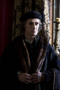 """Wolf Hall"", TV series, 2015. Mark Rylance as Thomas Cromwell."
