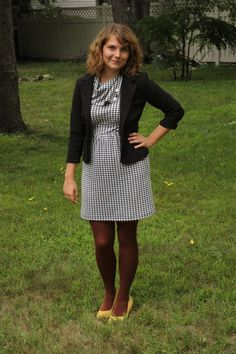 The Coach Tour Dress in Houndstooth is is the perfect base for a workday wonder!