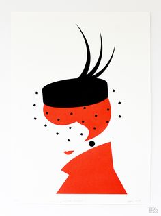 'Lady in Pillbox Hat' (cropped) Edition of screen printed art prints on 220gsm artist paper. Printed by hand.