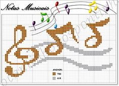 Notas Musicais Cross Stitch Music, Cross Stitch Charts, Mundo Musical, Music Logo, Fair Isle Pattern, Fairy Dolls, Le Point, Craft Work, Blackwork