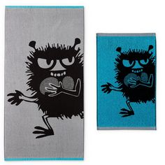 This cool Stinky hand towel and bath towel set by Finlayson presents a cheerful pattern with Stinky in a grey/turquoise colouring. The towel is made of 100 % co Christmas Wishlist 2016, Tove Jansson, Bath Towel Sets, Nordic Design, Hand Towels, Finland, Superhero, Fabric, Fictional Characters