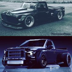 Hot Wheels - Ok igers top or bottom let us know on the comments what render you would build? Crazy wide body drift style C10 or a super tough F150 that NASCAR style! ⬆️ @renderedrides ⬇️ @sleepy_abbey Source @americanmusclehd #chevrolet #gmc #c10...