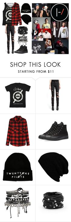 """""""Twenty One Pilots"""" by phanisnotonfire6 ❤ liked on Polyvore featuring Yves Saint Laurent, Converse, Hot Topic, KBETHOS, ASOS, Chico's, Topshop and Twenty"""