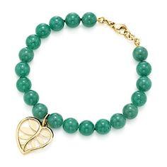 Tiffany & Co. | Item | Villa Paloma palm bead bracelet in 18k gold with green aventurine. | United States