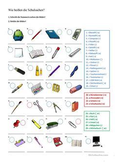 German Grammar, German Words, German Resources, School Equipment, French Worksheets, German Language Learning, Teaching Grammar, School Subjects, Learn German