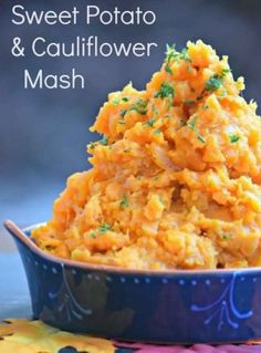 Sweet Potato Cauliflower Mash        Ingredients                SERVINGS: 4                          1.5 cups sweet potato, peeled and chopped    4 cups cauliflower, cut into florets    1/3 cup vegetable broth    1/4 cup low fat sour cream    1/16 tsp. nutmeg    1/2 tsp. garlic powder    Salt and pepper      Directions        Bring a pot of water