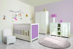 white furniture - fabric Lavender  Diego commode - Alice cot bed - wardrobe Laurence  Pazapas by BoboKids