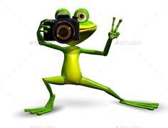Buy Frog with a Camera by brux on GraphicRiver. Frog with a Camera Illustration a Merry Green Frog with a Camera JPEG PNG PSD created in ma. Funny Minion Pictures, Frog Pictures, Cute Love Pictures, Cartoon Pics, Funny Animal Pictures, Camera Illustration, Frog Illustration, Anime Animals, Funny Animals
