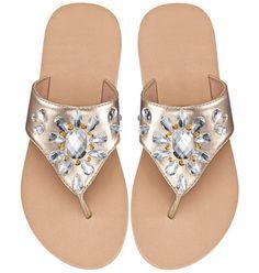Teardrop-Embellished Flip-Flop.  Wedge platform heel.  www.youravon.com/kellyolsen