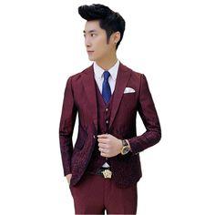 2016 New arrival spring Men printed club navy blue Suits Slim Custom Fit Tuxedo Fashion Business Dress Wedding Suits Blazer