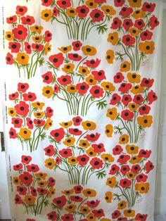 RARE Vintage Marimekko Fabric 73 Maija Isola Anemone, 4+yds, Pristine, unused | eBay